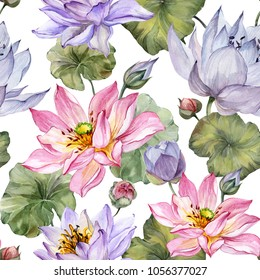 Beautiful floral seamless pattern. Large pink and purple lotus flowers with leaves on white  background. Hand drawn illustration. Watercolor painting. Design of textile or wallpaper.