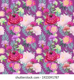 beautiful floral seamless pattern with peonies and bee, bumblebee .illustration for printing on fabric and wallpaper on a bard background