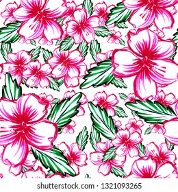 Beautiful floral tropical pattern blossom flowers seamless print. Mercers hand drawn illustration artistic work.