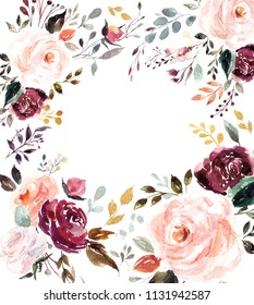 Beautiful floral watercolor background with roses and leaves