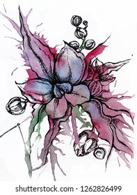 Beautiful floral watercolor and graphic design,hand painted