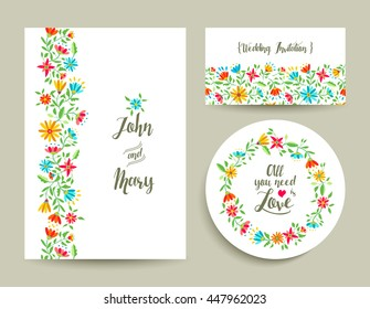 Beautiful floral wedding card invitation template with modern colorful flower designs ideal for spring celebration.