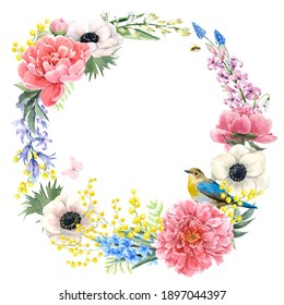 Beautiful floral wreath with watercolor hand drawn gentle summer flowers. Stock illustration.