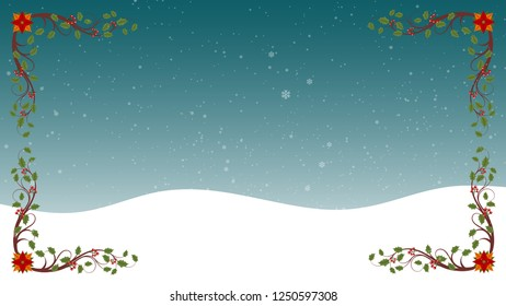Beautiful Flourishes Frame With Beautiful Snowflakes Falling Background