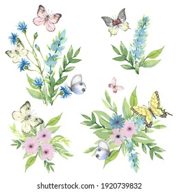 Beautiful flower bouquets with butterflies on a white background.