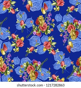 beautiful flower bunch With blue background