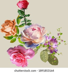 beautiful flower bunch digital art work