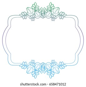 Beautiful flower frame with gradient filled. Color elegant flower frame for advertisements, flyer, web, wedding and other invitations or greeting cards. Raster clip art.