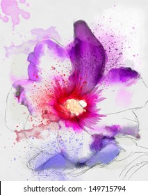 beautiful flower, watercolor