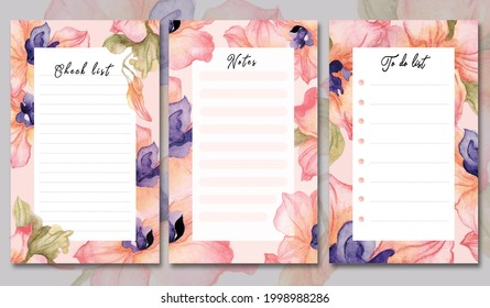 Beautiful flowers. Hand drawn watercolor illustration To do list check list and notes template. Design for social media