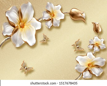 Beautiful Flowers White With Background Gold And Butterfly Shine