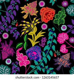 Beautiful folk art flower illustration seamless pattern, on dark background