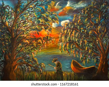 Beautiful forest, Fisherman, lake and old wooden boat, Oil Paining