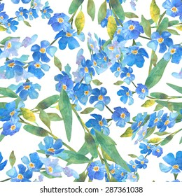 Beautiful Forget-me-not flowers.Watercolor . Floral seamless pattern pattern