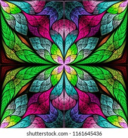 Beautiful fractal flower or butterfly in stained glass window style. You can use it for invitations, notebook covers, phone case, postcards, cards, wallpapers and so on.