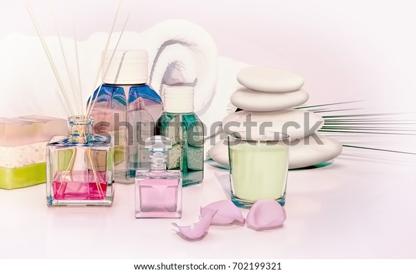 Beautiful, fragrant handmade soap, aromatic oil, candle, stack of stones on wooden background. 3D illustration