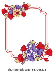 Beautiful frame with blue and red flowers. Design element for advertisements, flyer, web, wedding, invitations and greeting cards. Raster clip art.