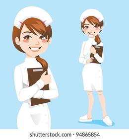 Beautiful friendly and confident nurse smiling holding clipboard