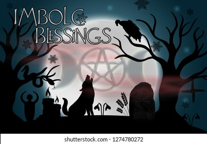 "Beautiful full moon with the goddess symbol glowing in it.  A Brigid's wheel hangs from a tree with a vulture, howling wolf, and snake sit by the fire. With the words ""Imbolc Blessings"" in the corner."