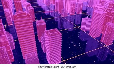 Belle ville futuriste dans le cyberespace. Motion. Ville 3D avec des routes brillantes dans le monde virtuel. Disposition de ville virtuelle pour les jeux vidéo