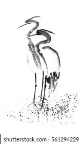 Beautiful gallant stork Heron crane love. Black ink. Japanese painting sumi-e.