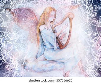 beautiful gentle angel playing harp sitting on cloud, collage with leaf ornaments