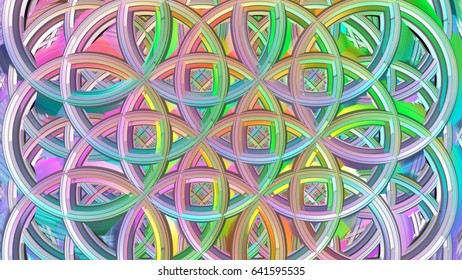 Beautiful geometric Overlapping circle of life structure massive design