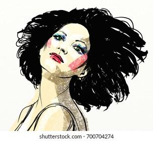beautiful girl with black hair