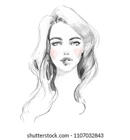 Beautiful girl black and white pencil style illustration. Abstract young woman face portrait fashion sketch.