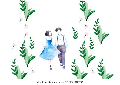 Beautiful girl and boy. Valentine's Day. Girl and boy holding hands. Love card. Together. Romantic couple background.
