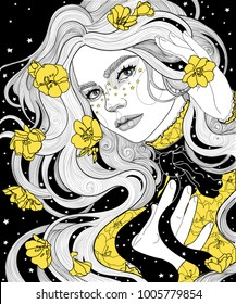 beautiful girl in a cape raincoat starry night. her hair and dress with the yellow gold flower called a night candle, that dissolves only after sunset