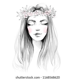 Abstract Beautiful Woman Face Portrait Flower Stock Illustration