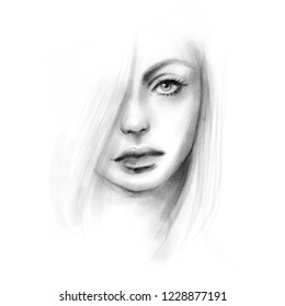 Beautiful girl face black and white fashion illustration. Hand drawn pencil sketch. Abstract young woman portrait art.
