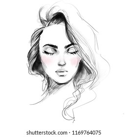 Beautiful girl face with closed eyes black and white fashion illustration. Hand drawn pencil sketch with pink watercolor.