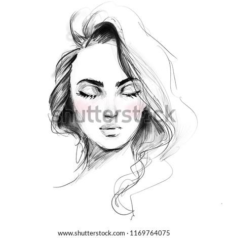 Royalty Free Stock Illustration Of Beautiful Girl Face Closed Eyes
