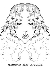 beautiful girl face in flowers for coloring books