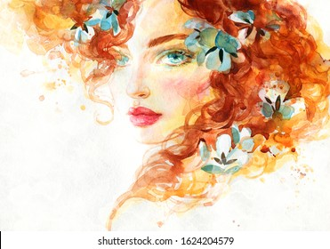 beautiful girl with flowers in her hair. fashion illustration. watercolor painting