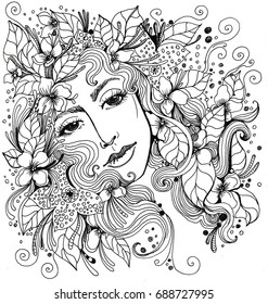 A beautiful girl in flowers and leaves. Happy girl ideal for coloring.