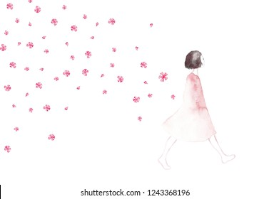 Beautiful girl with flying blossom cherry flowers around her. Romantic card. Girl with flowers