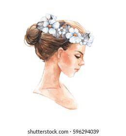 Beautiful girl. Hand drawn watercolor female face, watercolor painting