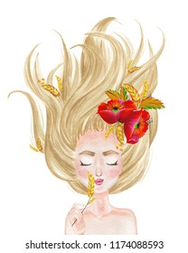 Beautiful girl with long blonde hair spread out and with wreath of poppy flowers. Hand drawn watercolor illustration