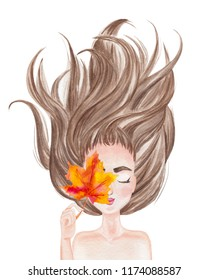 Beautiful girl with long dark hair spread out holding autumn leaf. Hand drawn watercolor illustration