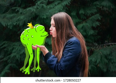 A beautiful girl with long hair hanging down kisses a fat, ugly toad with a crown on its head. Drawing on top of the photo