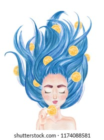Beautiful girl with long hair spread out holding citrus fruit. Hand drawn watercolor illustration