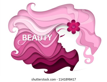 Beautiful girl with long wavy hair.  Illustration in modern paper art style. Beauty and hair salon logo, business card design template.