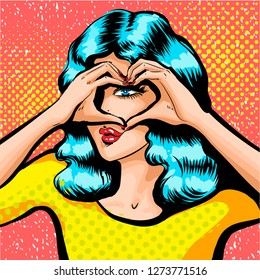 Beautiful girl looking through the sign of heart made of fingers. Illustration of pretty girl making sign of heart by fingers. Colored of young woman with light blue hairs
