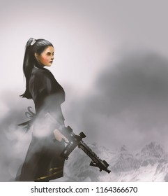 a beautiful girl with machine guns and standing on mountain, action game's avatar concept, digital illustration art painting design style.