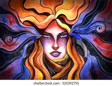 beautiful girl, painted in watercolor, symbolizes the zodiac sign Aquarius