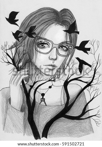 Royalty Free Stock Illustration Of Beautiful Girl Short Hair Glasses