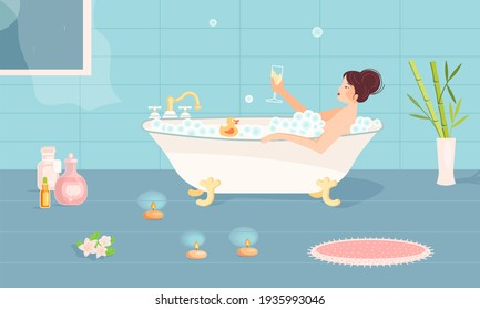 Beautiful girl sits in bathtub Illustration. Young woman at home spa. Bathroom cosmetics and candles. Rastered Copy